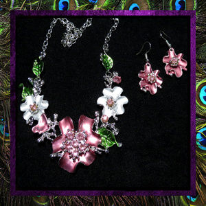Colorful Flower Necklace & Earring Set #725